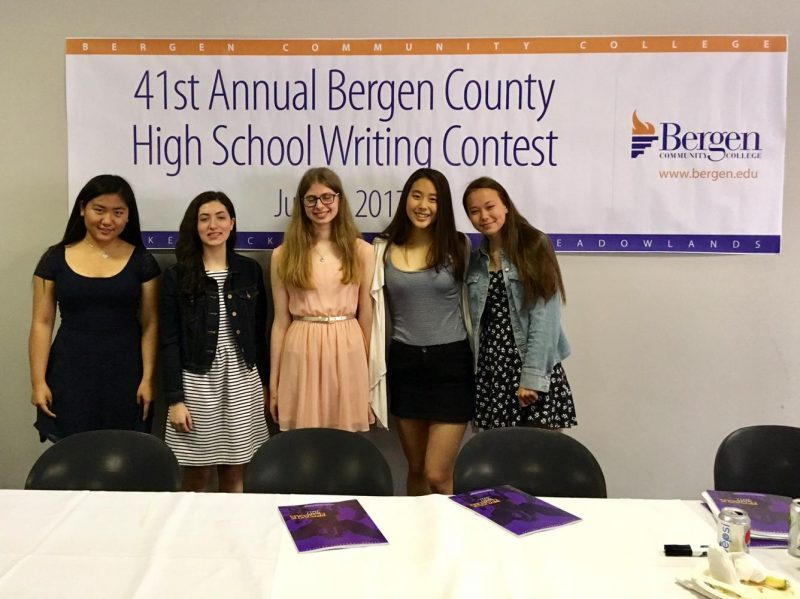 From left to right: Haozhong Jin ('18), Sydney Salk ('18), Hannah Rosen ('18), Cleopatra Lim ('18), and Sakura Eguchi ('18). Winner Sara Howard not pictured.
