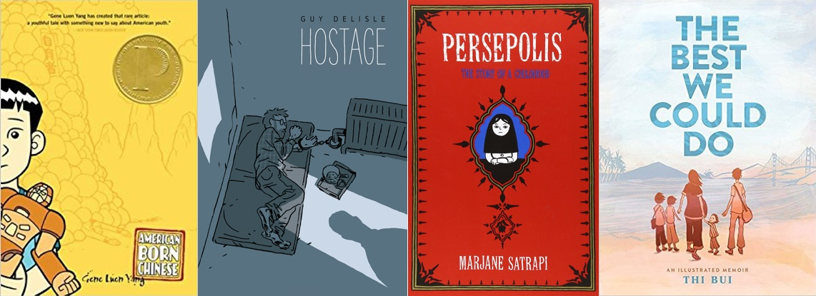 From left to right: American Born Chinese (Gene Luen Yang), Hostage (Guy Delisle), Persepolis (Marjane Satrapi), The Best We Could Do (Thi Bui)