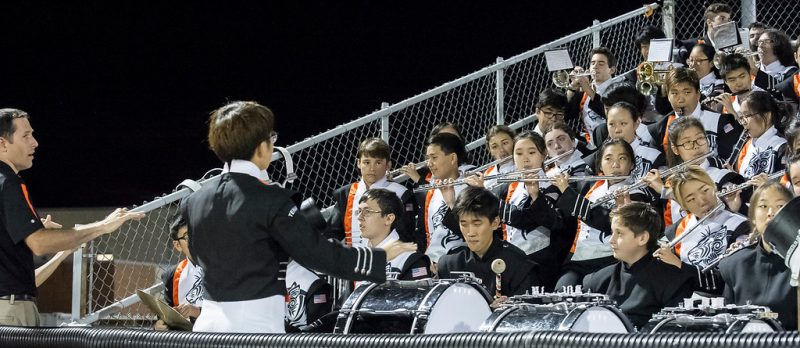 Mr. Jacobetz with the marching band (Courtesy THS PASO)