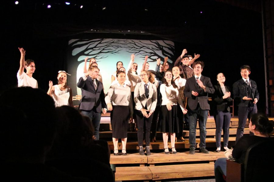 The entire cast of Our Town during bows