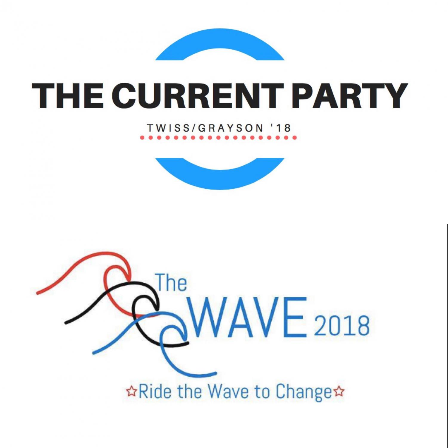 Current Party logo designed by Olivia Gregory ('18) Wave Party logo by Billie Singer ('19)