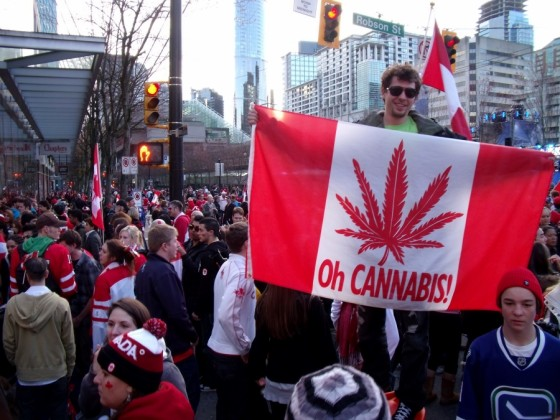 Canadians celebrating the legalization of cannabis.