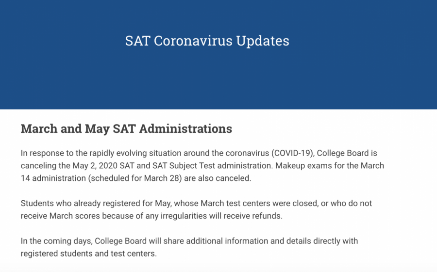 THS Students React to SAT Cancellation Amidst Coronavirus Outbreak