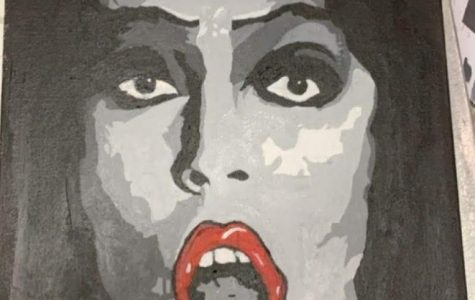 Painting of Frank N. Furter from Rocky Horror Picture Show by Goldie Singer ('23) Photographer: Goldie Singer