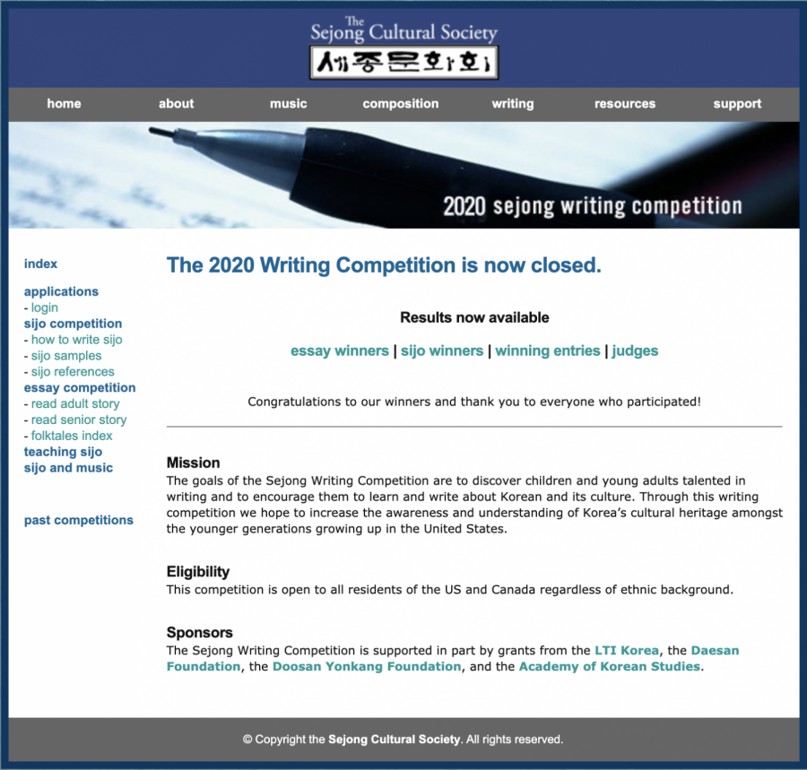 THS Junior Wins Award in the Sejong Writing Competition