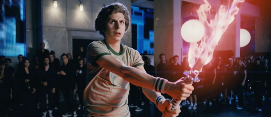 Scott Pilgrim yielding a fire katana for a video game-like boss battle