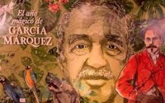 "Painting depicting Gabriel García Márquez and his work that reads ""The magic year of García Márquez"""