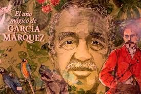 "Painting depicting Gabriel García Márquez and his work that reads ""The magic year of García Márquez"""