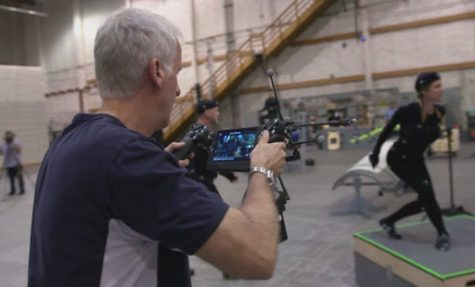James Cameron on set filming the motion capture for Avatar.