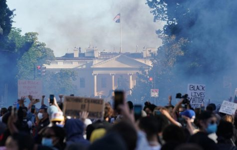 Police use teargas on protestors outside the White House.