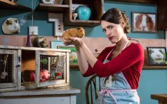 Fleabag with her guinea pig (not a hamster) Hilary who kind of took over the cafe