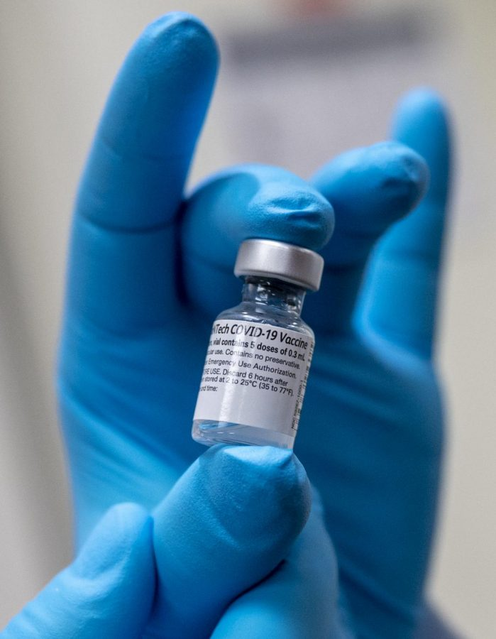 A Sample of the Pfizer Vaccine for the COVID-19 Virus.