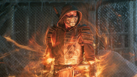 Still image of the fire wielding Scorpion in Mortal Kombat
