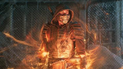Still image of the fire wielding Scorpion in Mortal Kombat