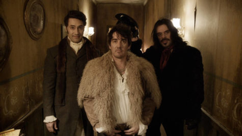 Still image of Viago, Vladislav, and Deacon getting ready to go out